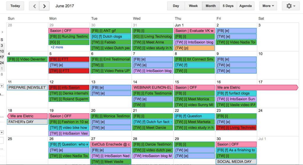 Exemplo de calendário para redes sociais